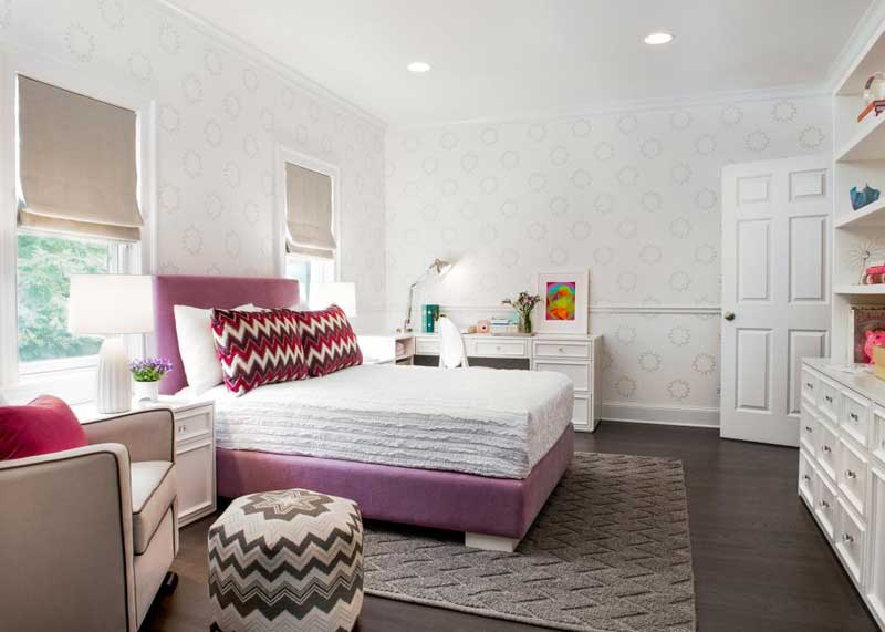 Sophisticated Teenage Girl Bedroom with Upholstered Lilac Bed