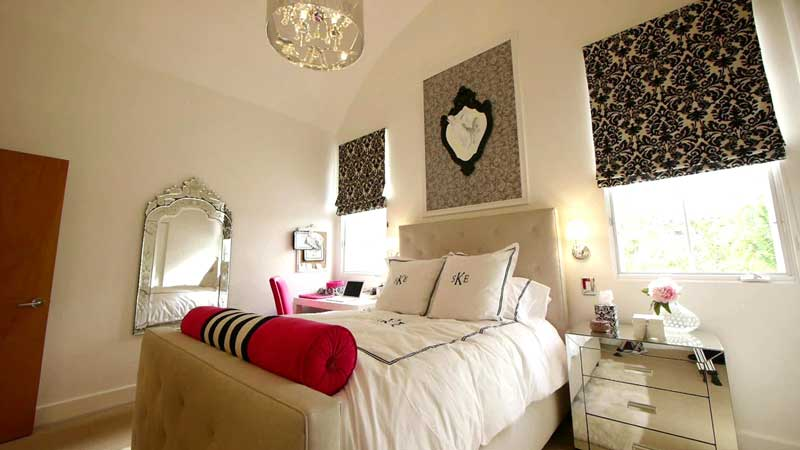 White Teenage Girl Bedroom With Black Accents
