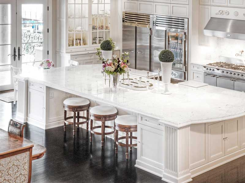 White Kitchen Island With Stunning Marble Countertop
