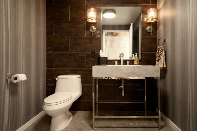 Bathroom with Wood Look Tile Wall