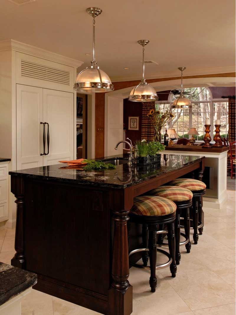 Wooden Kitchen Island With Black Marble Countertop