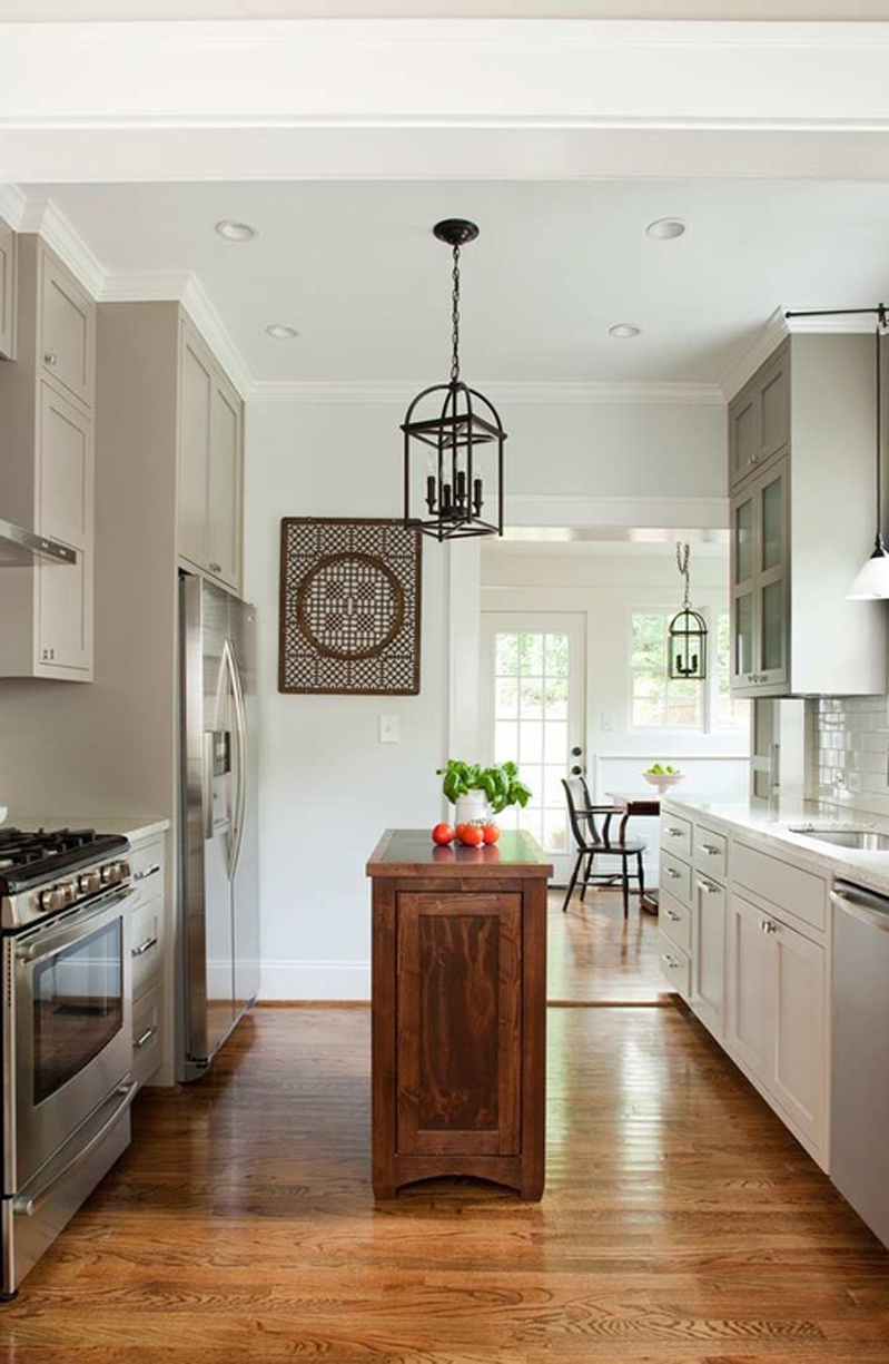 Kitchen Island with Square Pendant Light