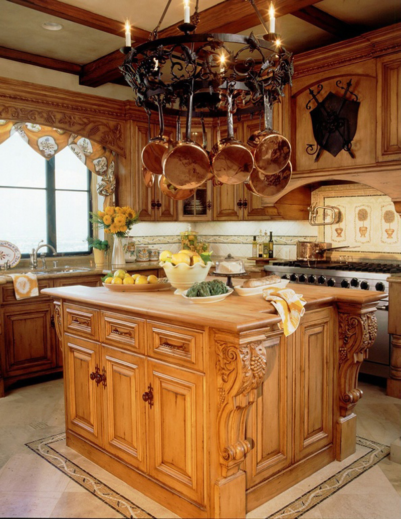 Kitchen Island with Traditional Chandelier