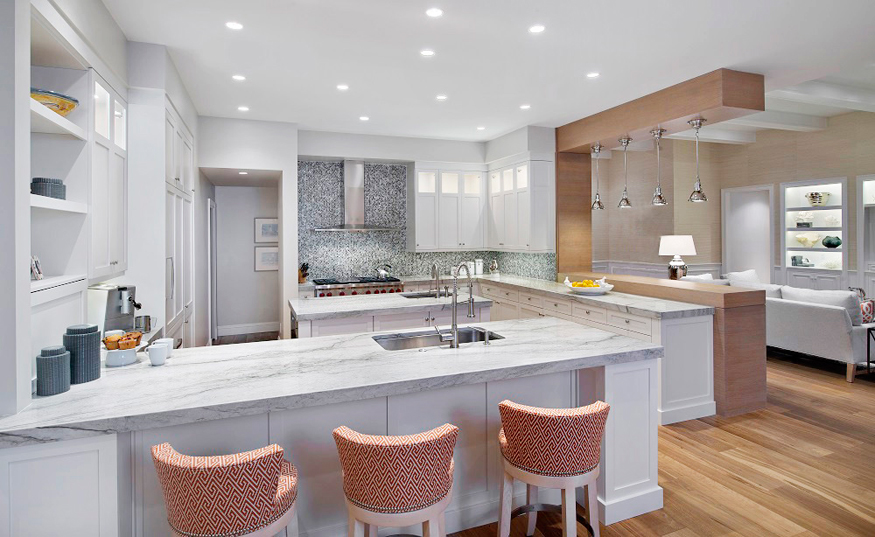 Modern White Kitchen With Gray Mosaic Backsplash. Kitchen With Upholstered  Barstools And White Kitchen Island