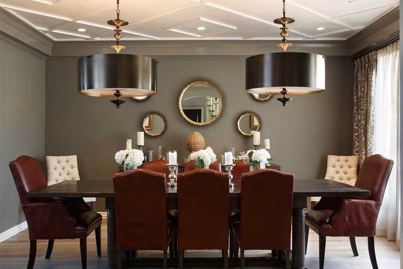 traditional dining room with drum pendant light fixture for low ceilings - Dining Room Drum Pendant Lighting