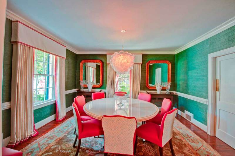 colorful dining room with glass ball chandelier