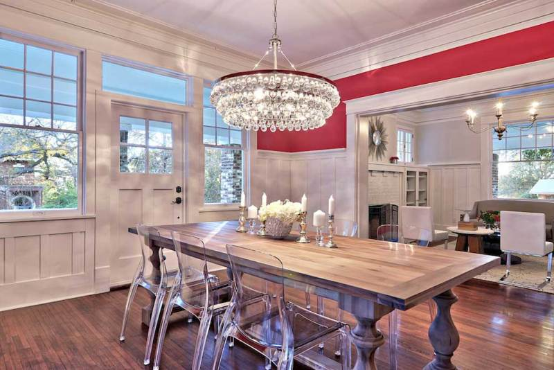 dining room with glass drop crystal chandelier