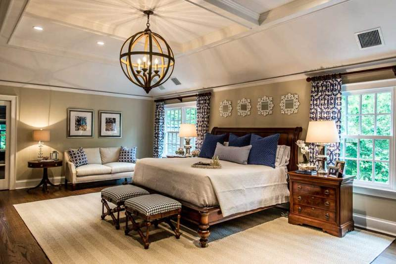 master bedroom with orb light chandelier