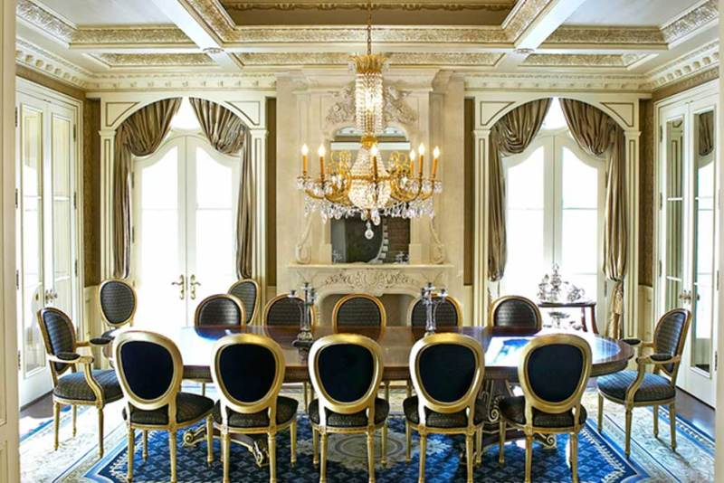 luxury dining room with crystal chandelier
