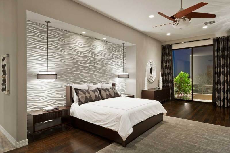 modern bedroom with drum shade pendant lights
