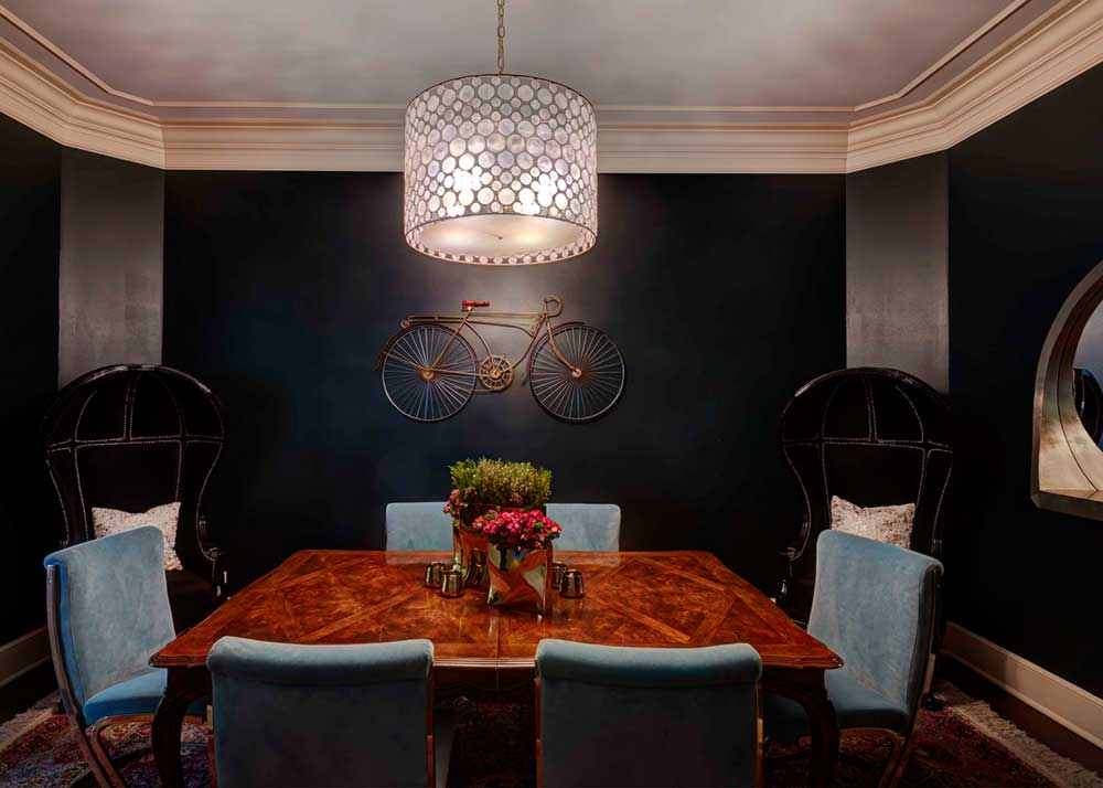 Black Dining Room With Drum Shade Ceiling Light
