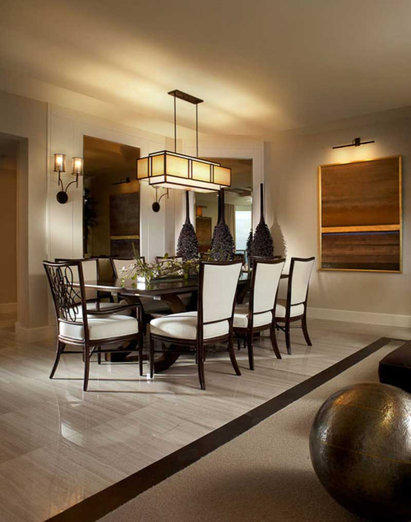 traditional dining room with square pendant light fixture