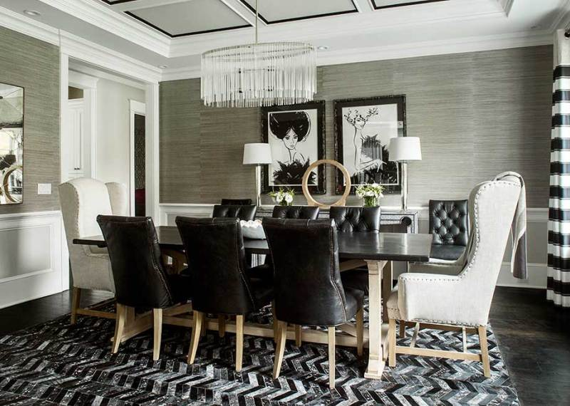 black white dining room with chandelier