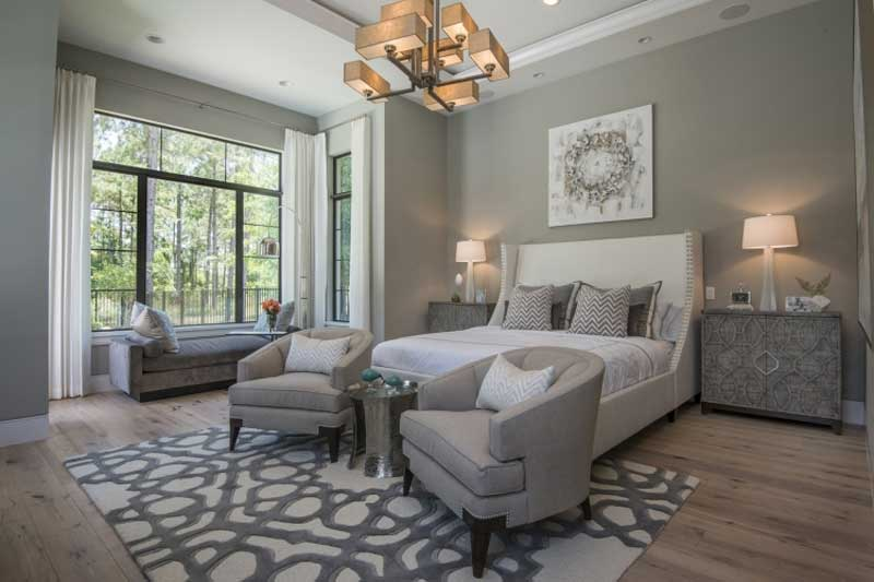 master bedroom with square cage chandeliers