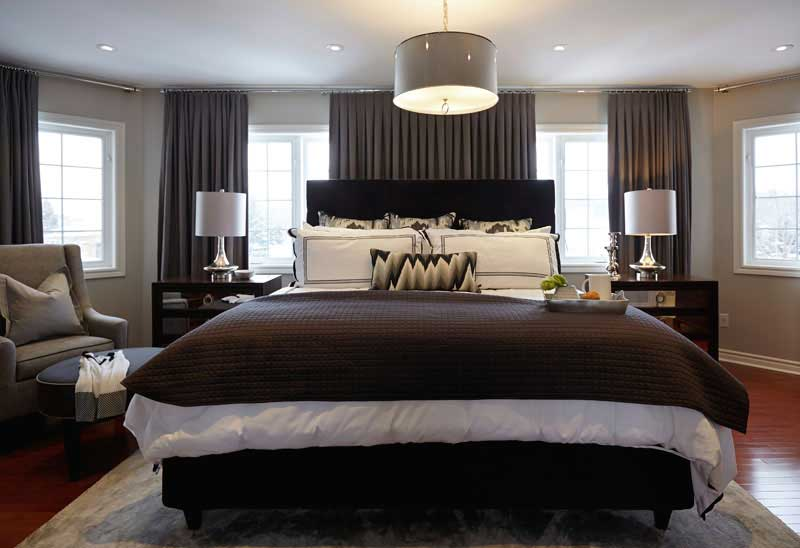 master bedroom with drum shade pendant ceiling lighting