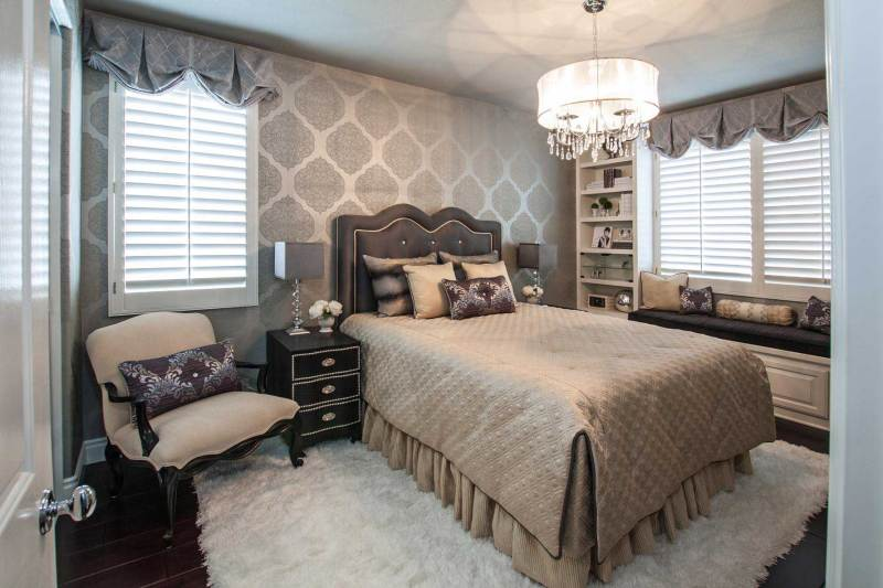 small master bedroom with drum shade chandelier
