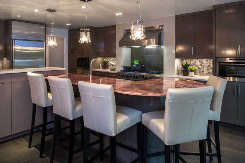 kitchen with crystal pendant light