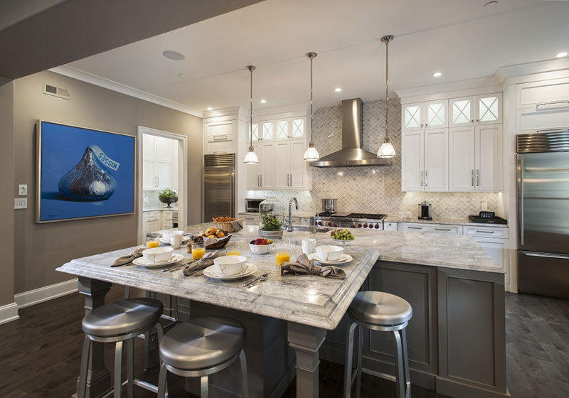 Traditional kitchen with white fantasy granite countertops