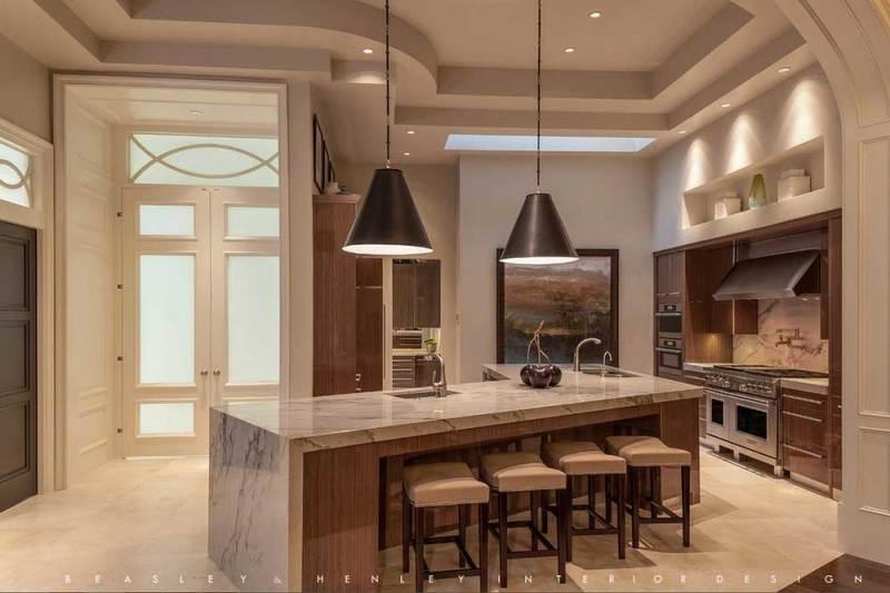 kitchen with matte black pendant light