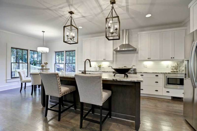 kitchen with lantern pendant light fixtures
