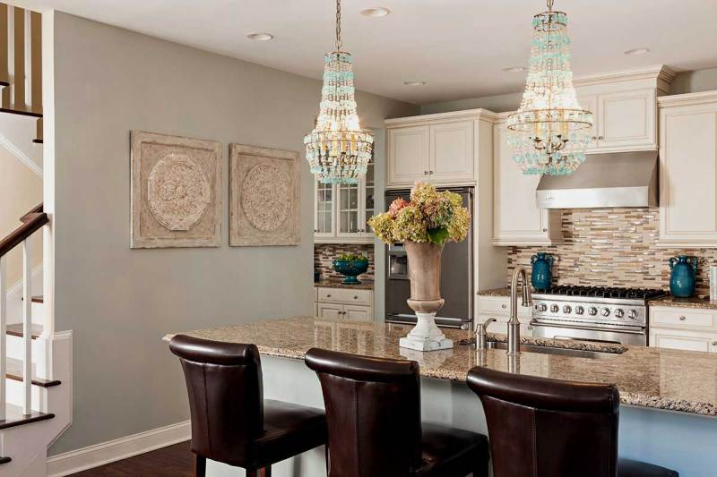 kitchen with turquoise empire chandelier