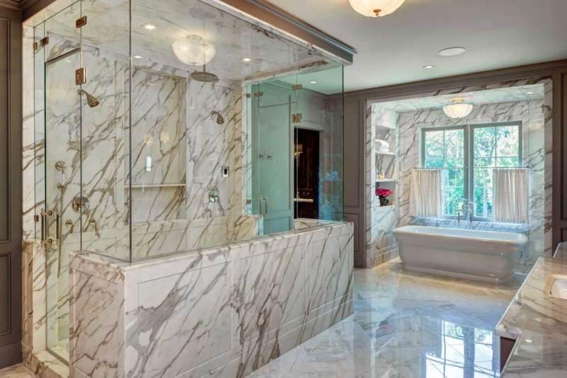 luxury bathroom with drum ceiling light