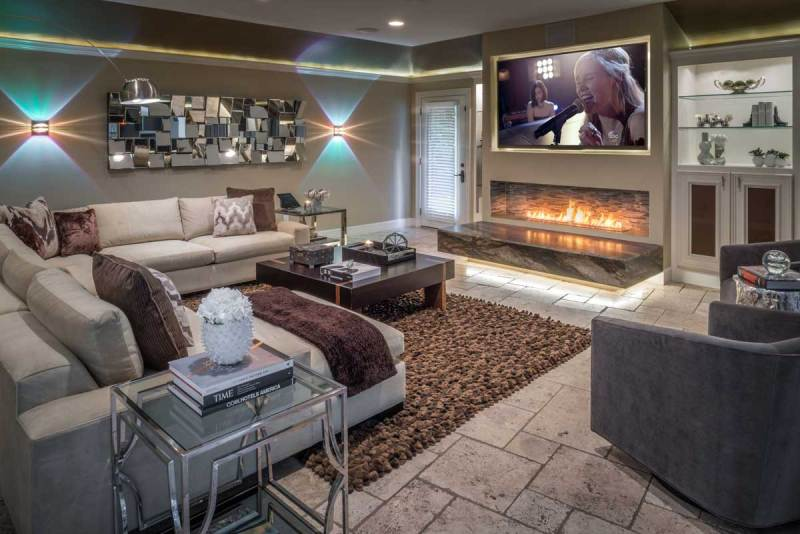modern living room with led wall sconces fixtures