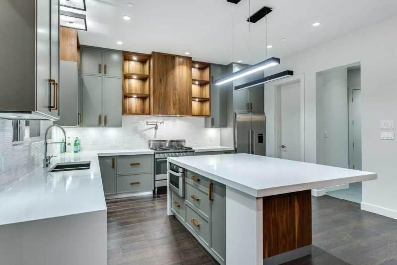 modern kitchen with rectangular led pendant light
