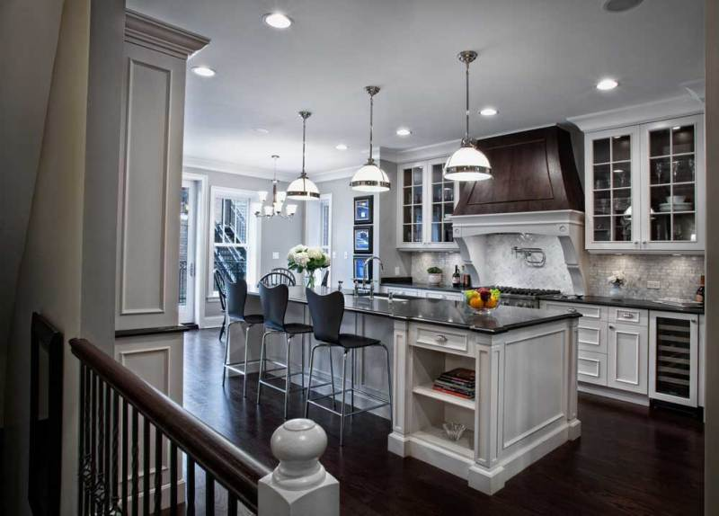 kitchen with white glass pendant light in satin nickel finish