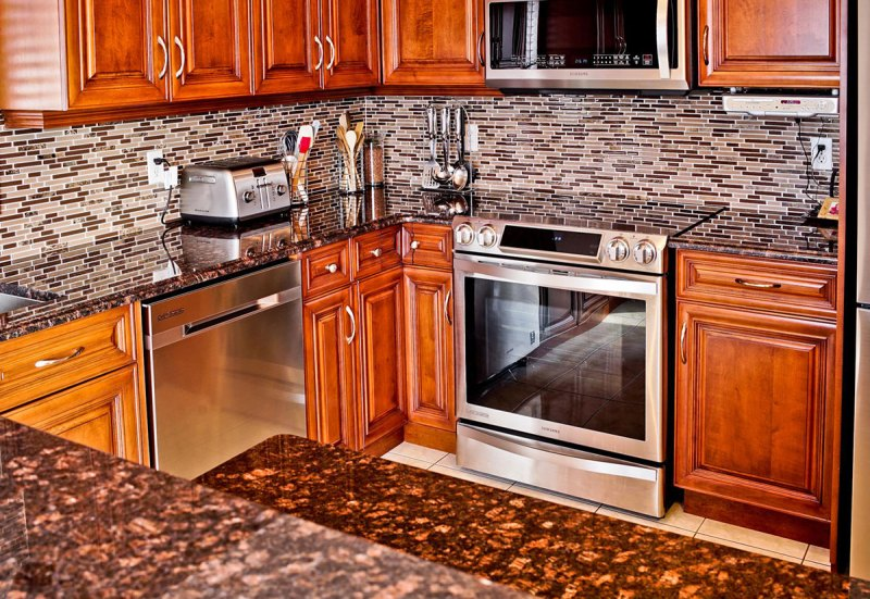 Granite Sandstone Countertop With Tan Cabinet Kitchen Design Ideas ~ Tan brown granite countertops pictures cost pros and cons