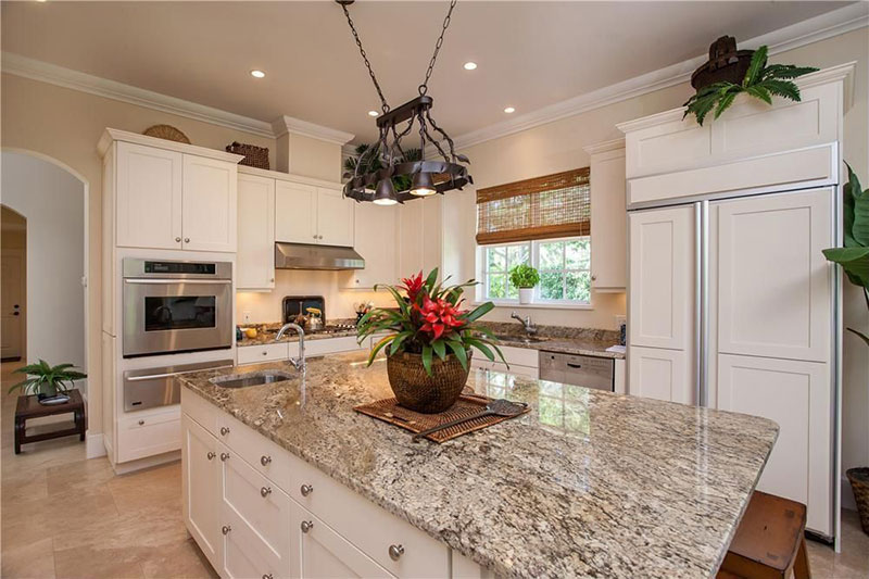 Wonderful White Kitchen With Bianco Antico Countertops
