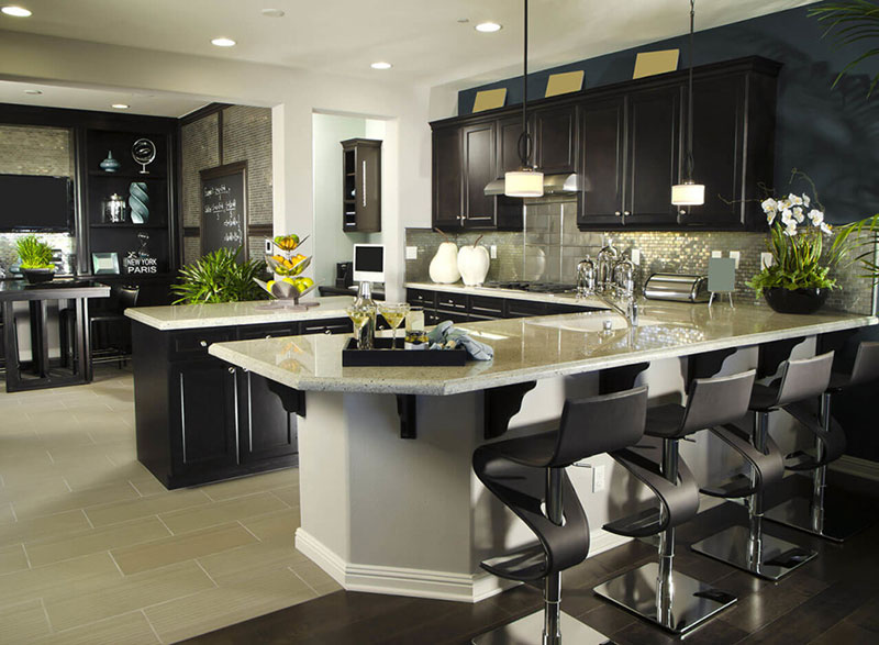 Black kitchen with Kashmir white granite countertops