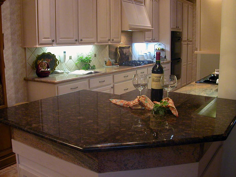 White kitchen tan brown granite countertops