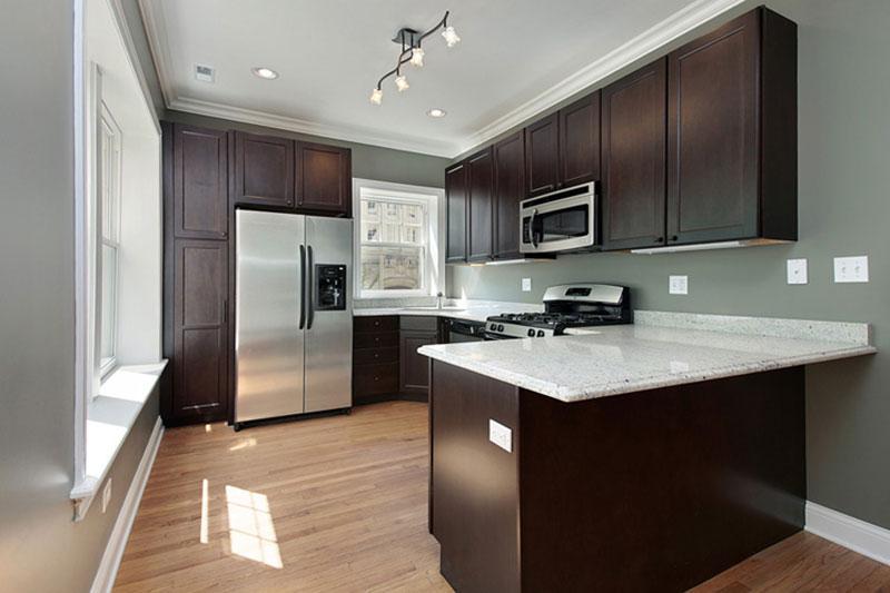 Small kitchen with bianco romano granite
