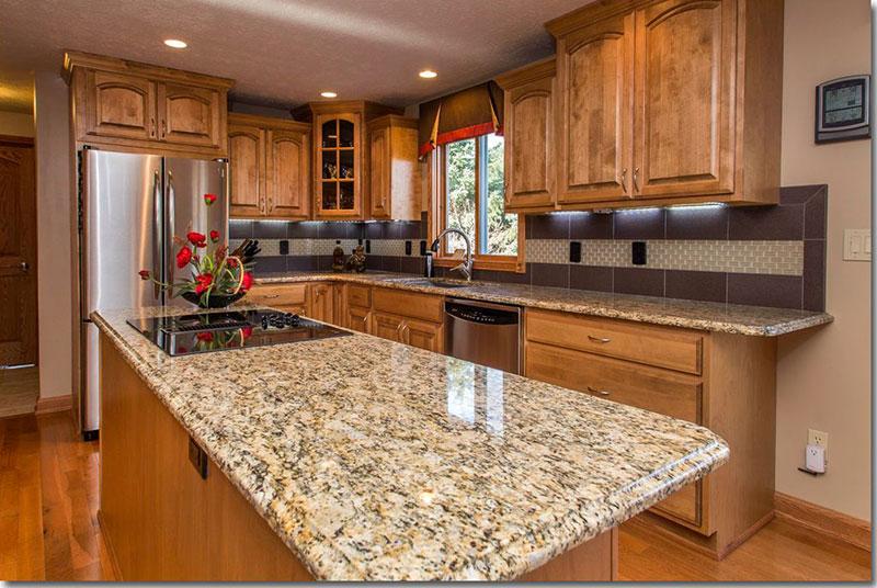 Giallo Ornamental Granite With Maple Cabinets   online ... on Granite Colors That Go With Maple Cabinets  id=37251