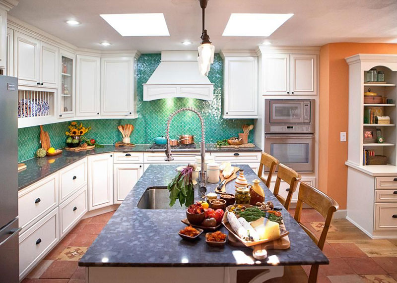 Transitional kitchen with blue pearl granite and glass mosaic tile