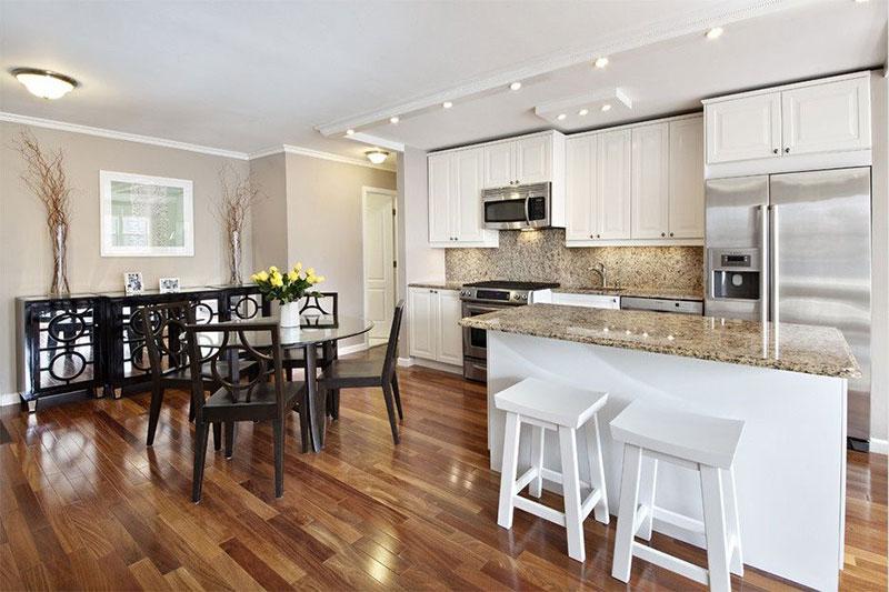 Giallo ornamental granite white kitchen