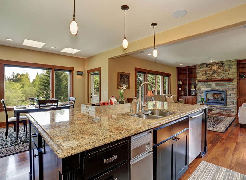 Kitchen island with new venetian gold granite