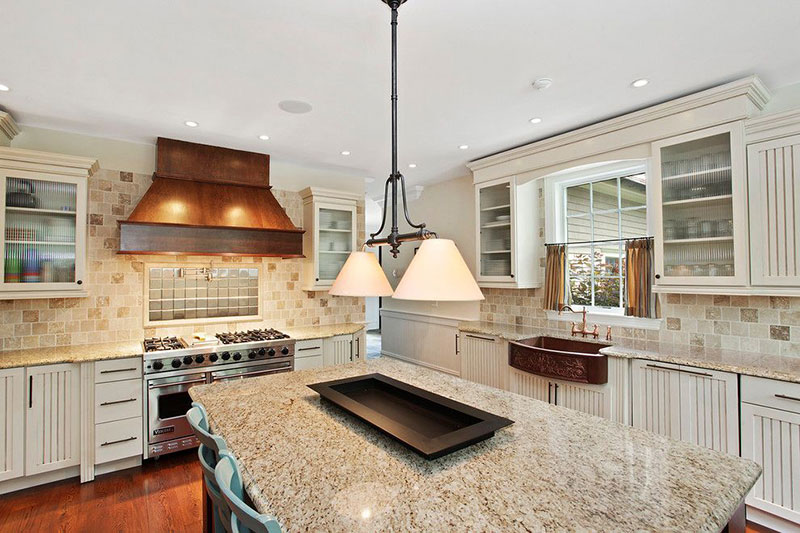 Ordinaire Giallo Ornamental Granite With Antique White Cabinets