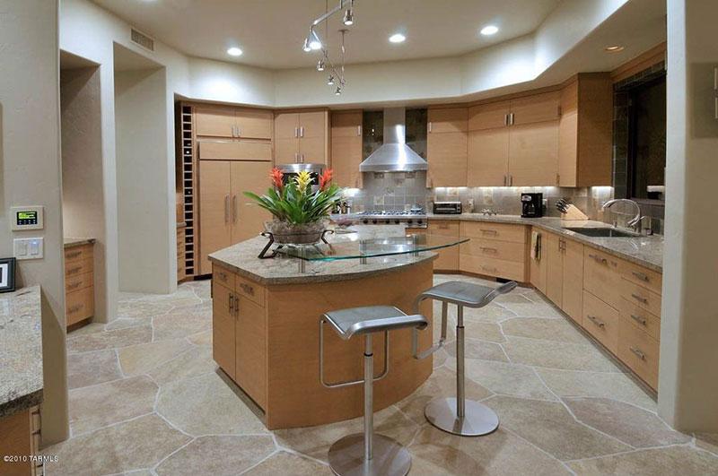 Modern kitchen with bianco romano granite countertops
