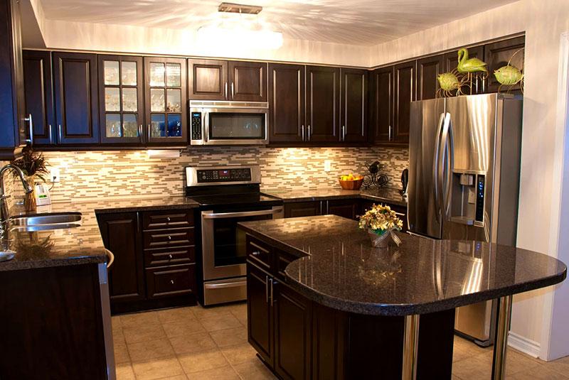 Best Black Granite Countertops (Pictures, Cost, Pros & Cons) on Black Granite Countertops With Brown Cabinets  id=58619