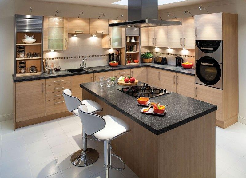 Modern kitchen with black granite countertops