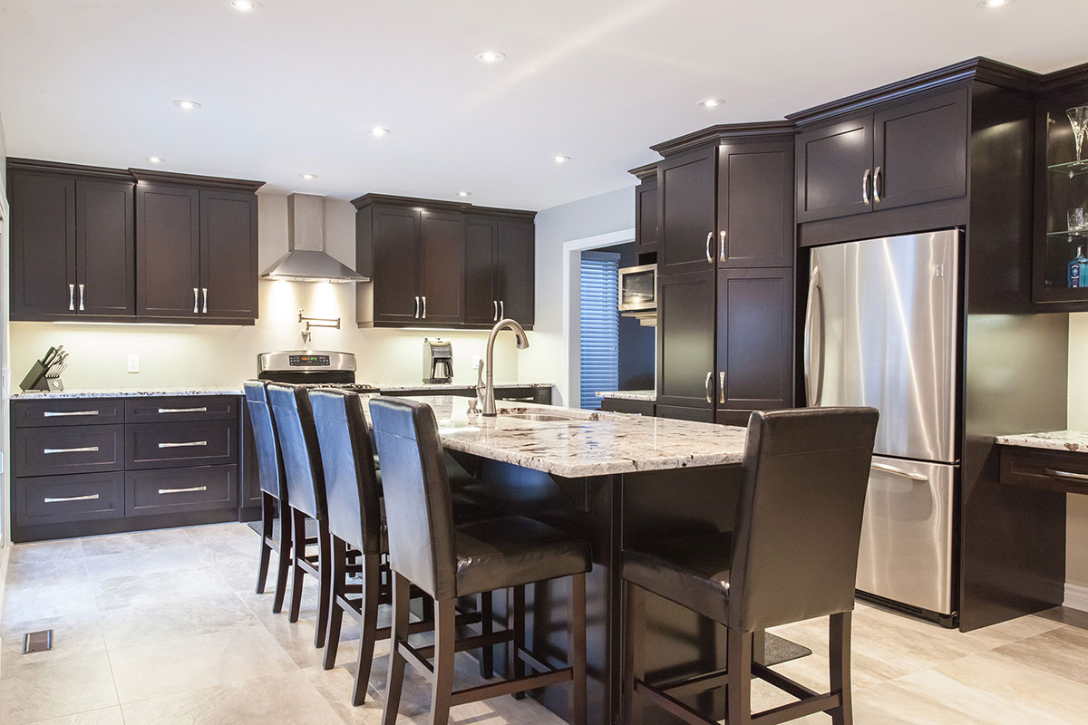 Alaska White Granite Countertops With Dark Cabinets