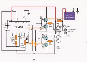PWM Inverter Using IC TL494 Circuit | Homemade Circuit