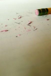 eraser, pencil, paper