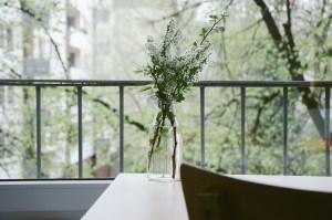 flower vase, vase, balcony