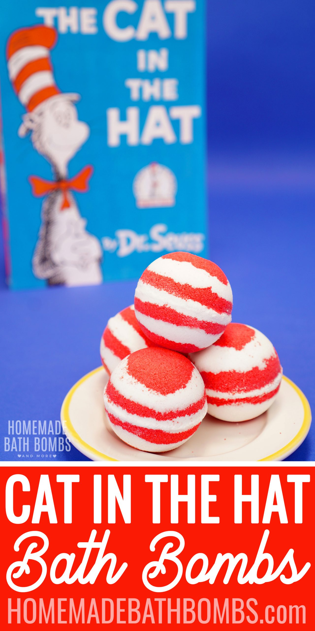Looking for a fun Dr. Seuss craft? These Cat in the Hat bath bombs are sure to be a HUGE hit! Quick, easy, and TONS of fun for all ages! via @hihomemadeblog