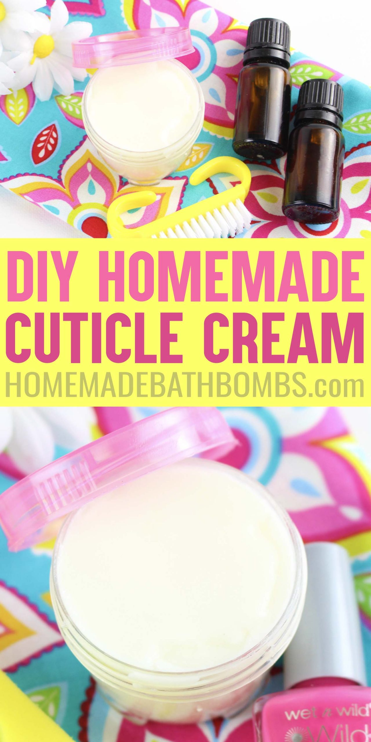 Learn how to make DIY Cuticle Cream to keep your nails and hands healthy! Homemade cuticle cream is super quick and easy to make! via @hihomemadeblog
