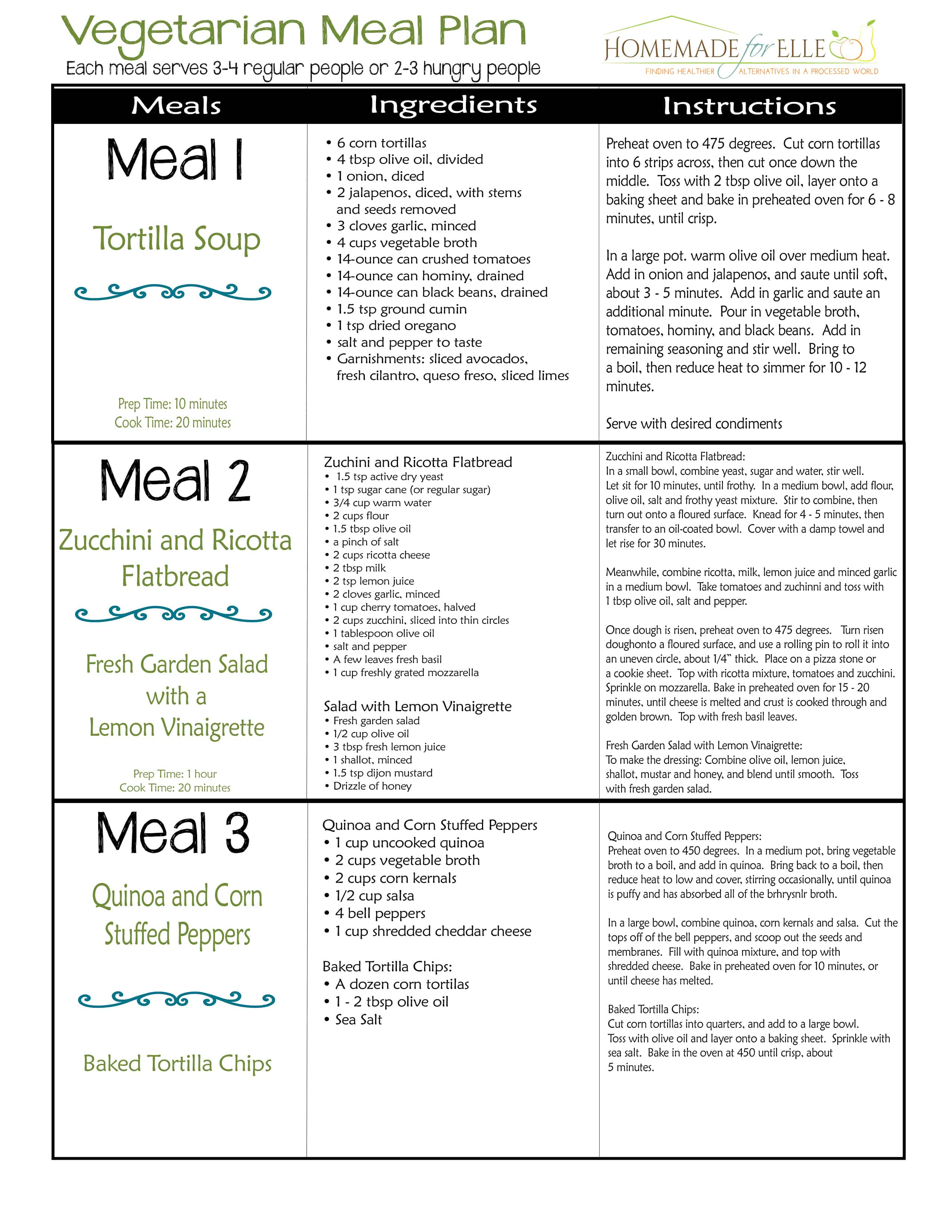 Vegetarian Meal Plan Page 1 Homemade For Elle