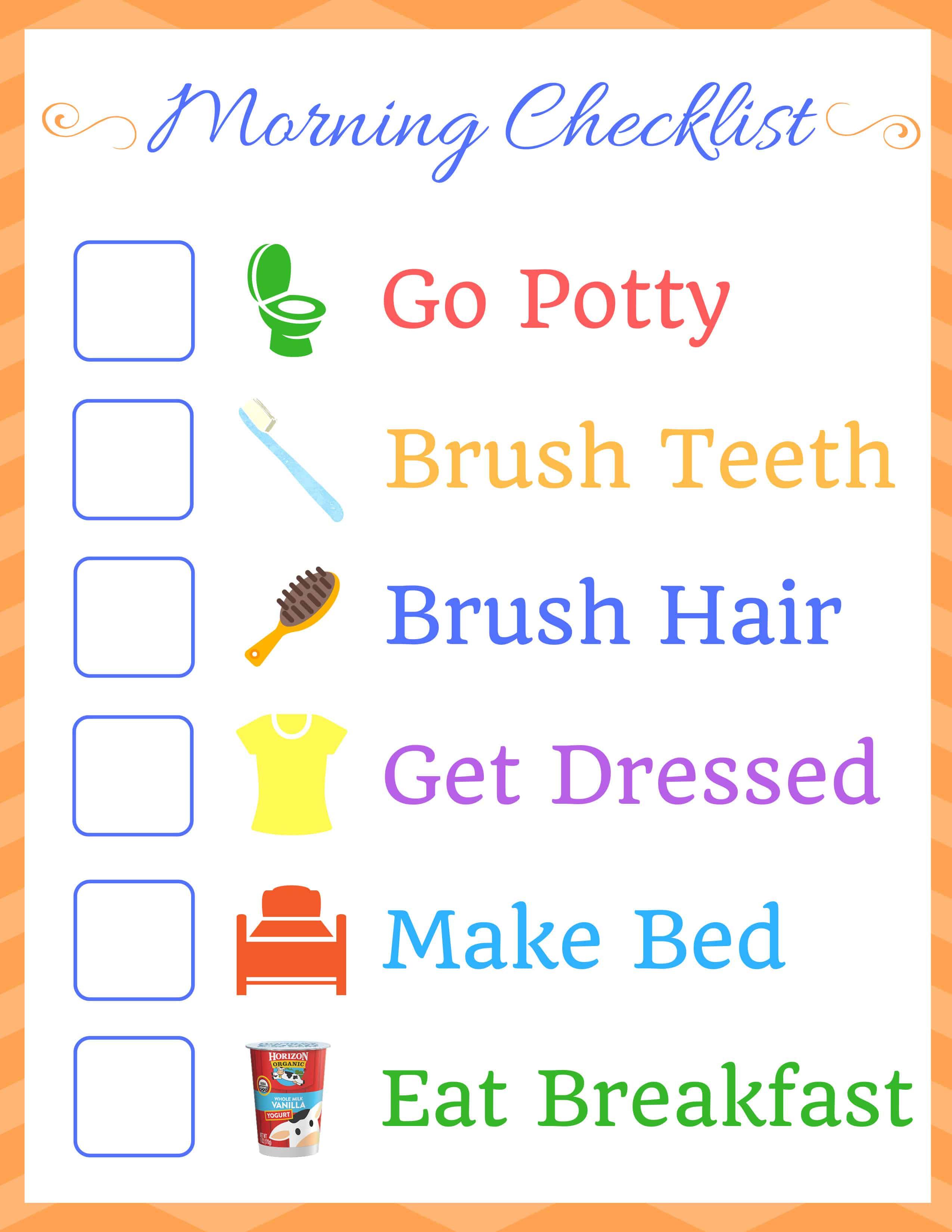Kids Morning Routine Checklist Homemade For Elle